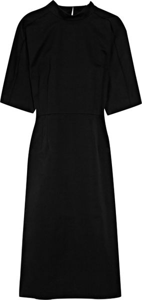 Jil Sander Longitude Structured Cottontwill Dress in Black - Lyst