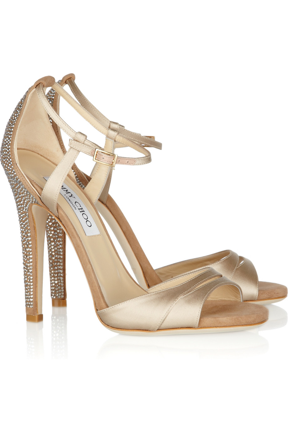 Lyst - Jimmy choo Tema Crystal-embellished Satin and Suede Sandals ...