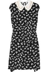 Miu Miu Embellished-Collar Printed Crepe Dress