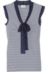 Philosophy di Alberta Ferretti Striped Silk Chiffon-trimmed Cotton Top - Lyst
