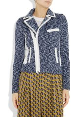 Rag & Bone Haver Leathertrimmed Knitted Cotton Jacket in Blue - Lyst