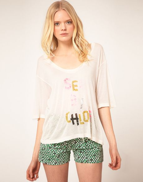 See By Chloé See By Chloe Tape Print Tshirt in Beige (cream) - Lyst