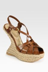 Stuart Weitzman However Leather Slingback Espadrille Wedge Sandals - Lyst