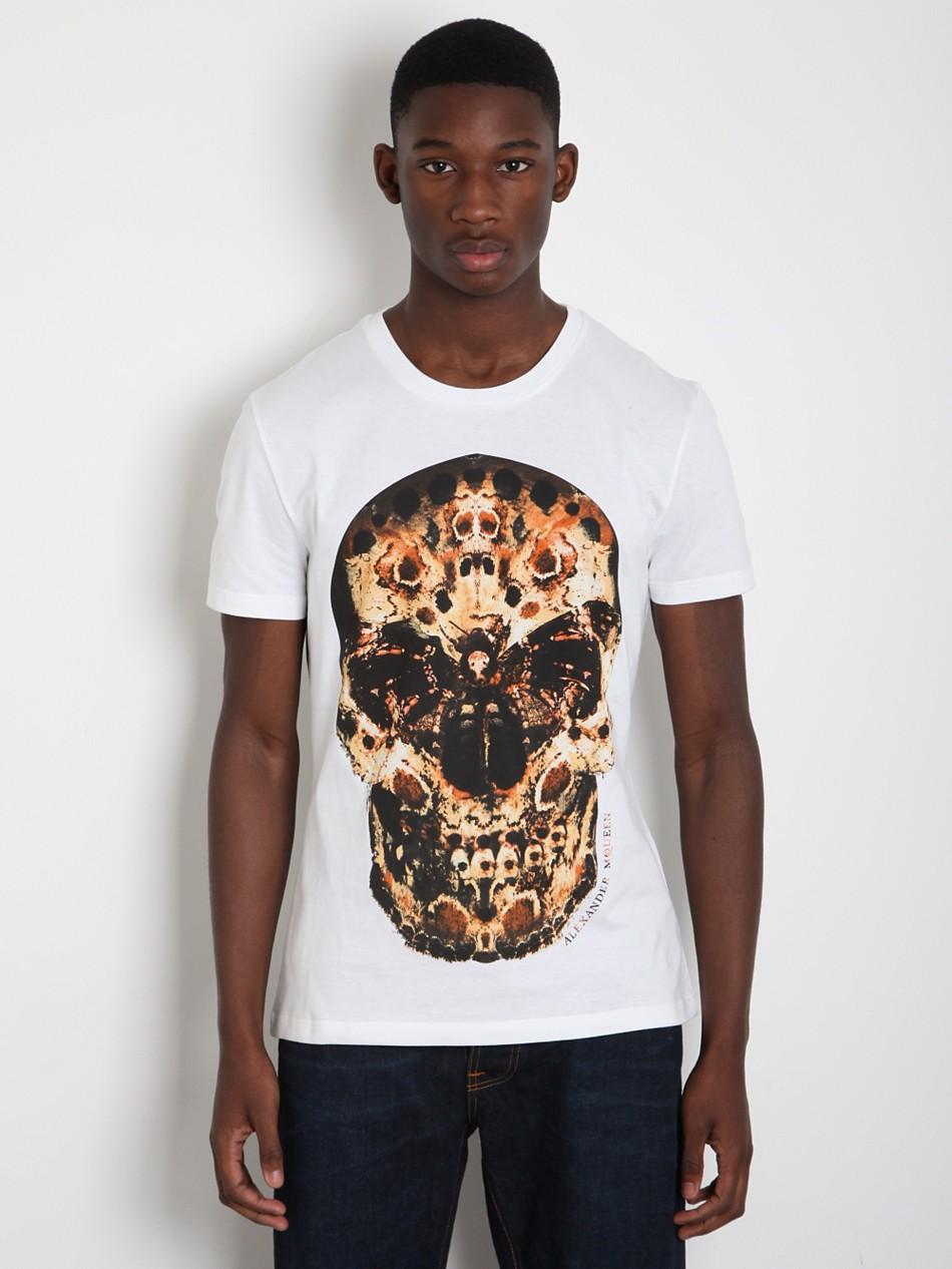 Alexander mcqueen alexander mcqueen mens moth skull t for Alexander mcqueen shirt men