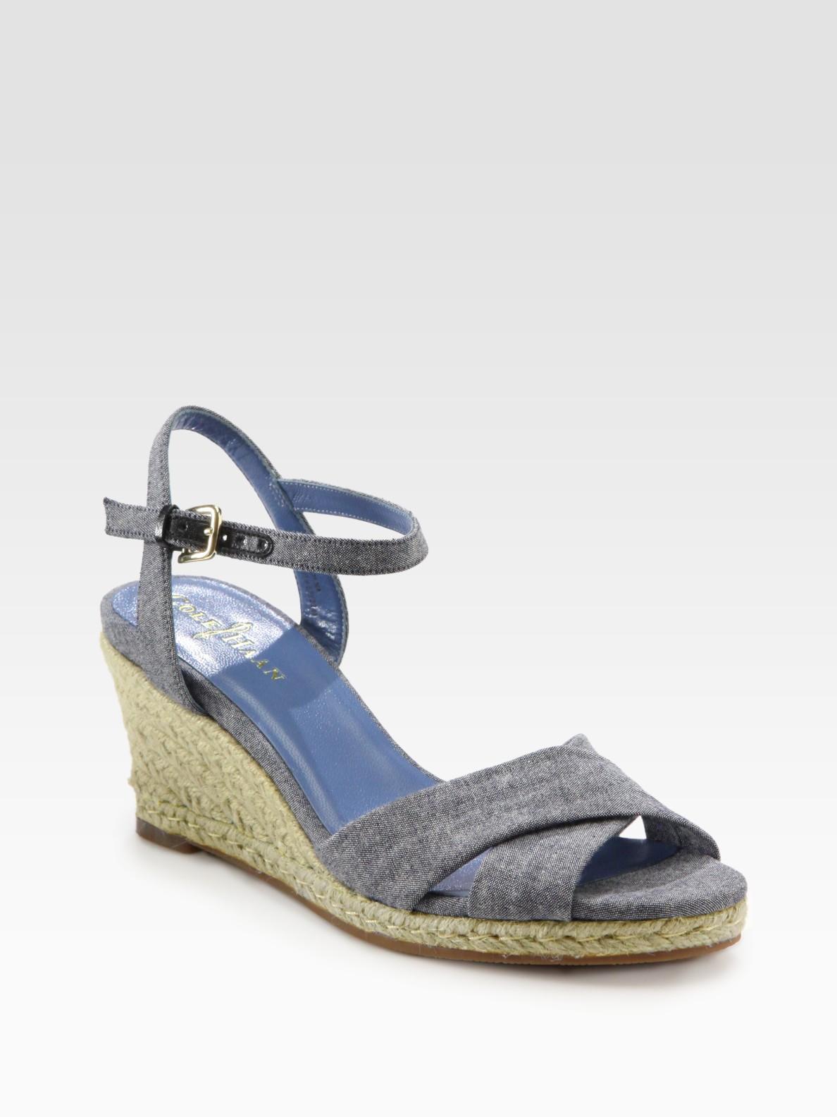 cole haan air camila denim espadrille wedge sandals in