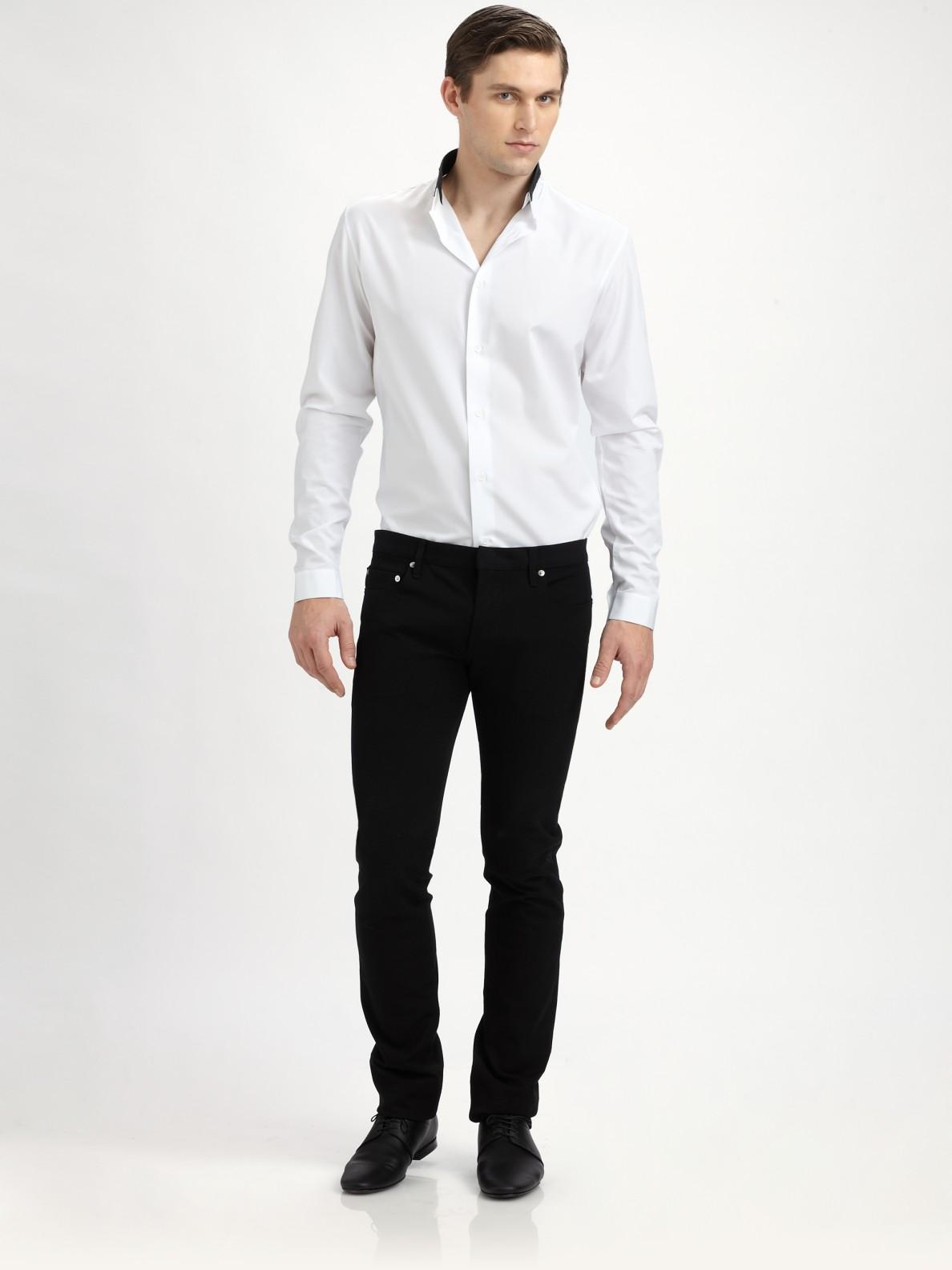 lyst dior homme slim straight leg jean in black for men. Black Bedroom Furniture Sets. Home Design Ideas