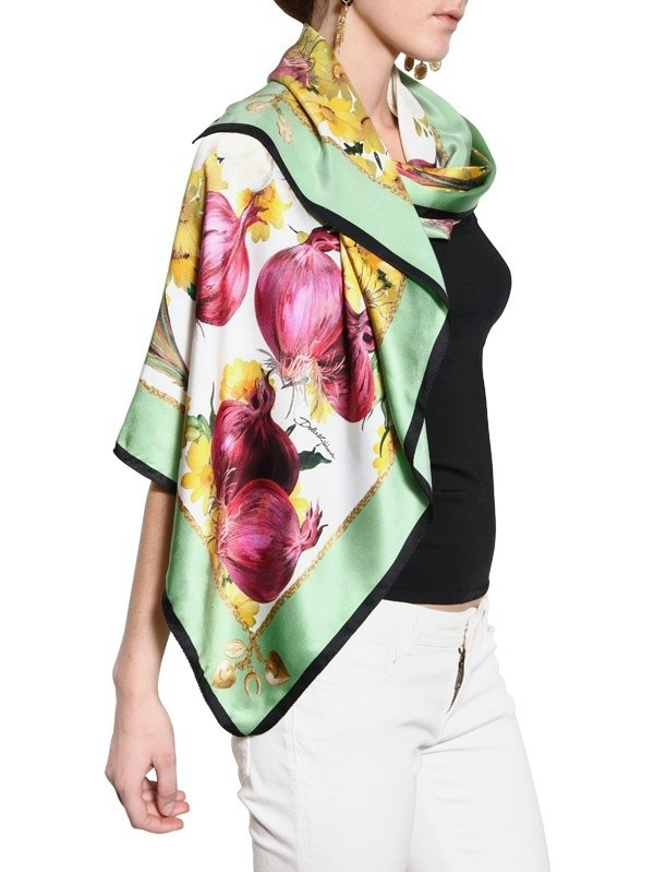 Lyst Dolce amp Gabbana Aubergine Print Silk Satin Scarf