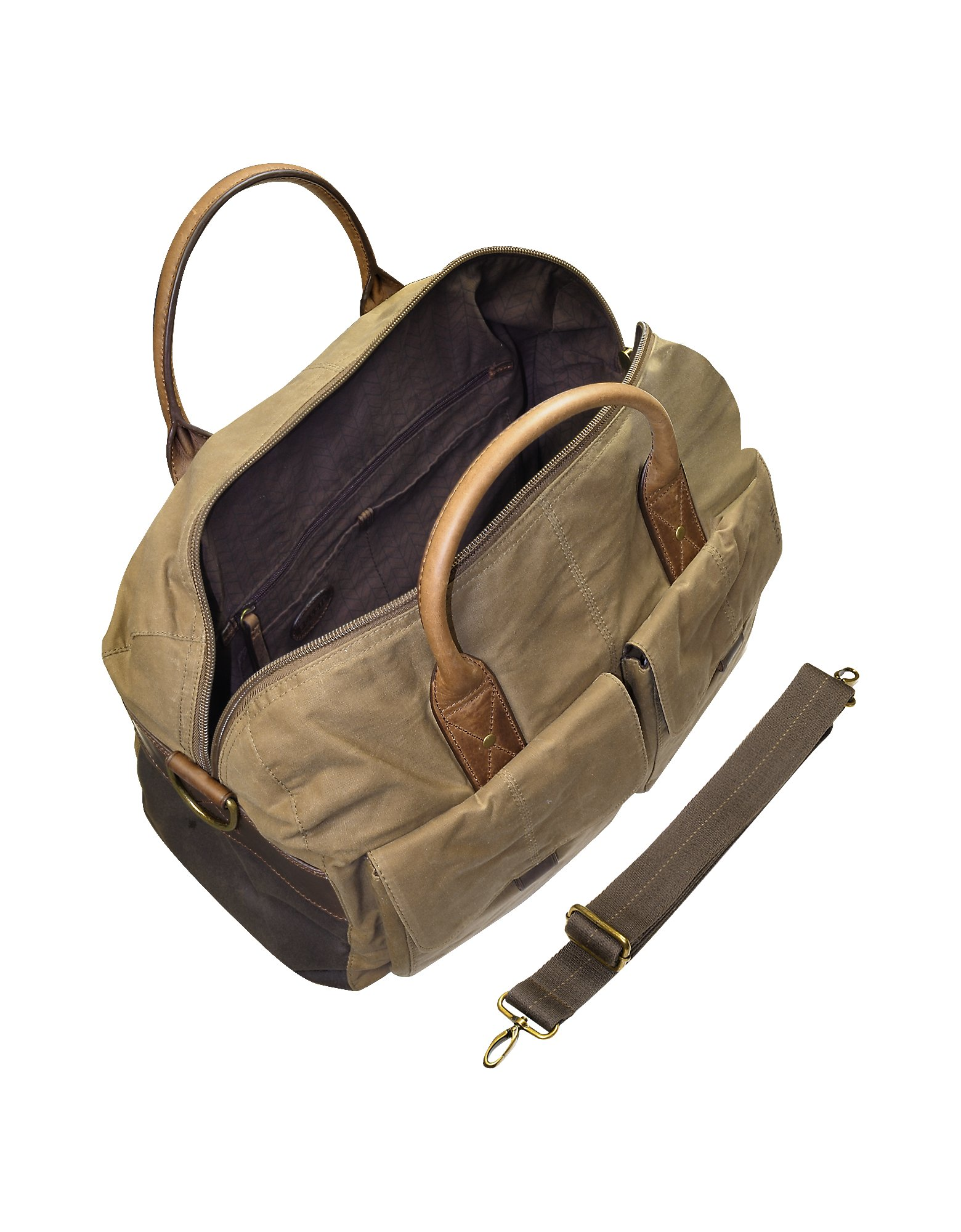 dfac9c7e261c Lyst - Fossil Wagner - Brown Canvas Duffle Bag in Brown for Men
