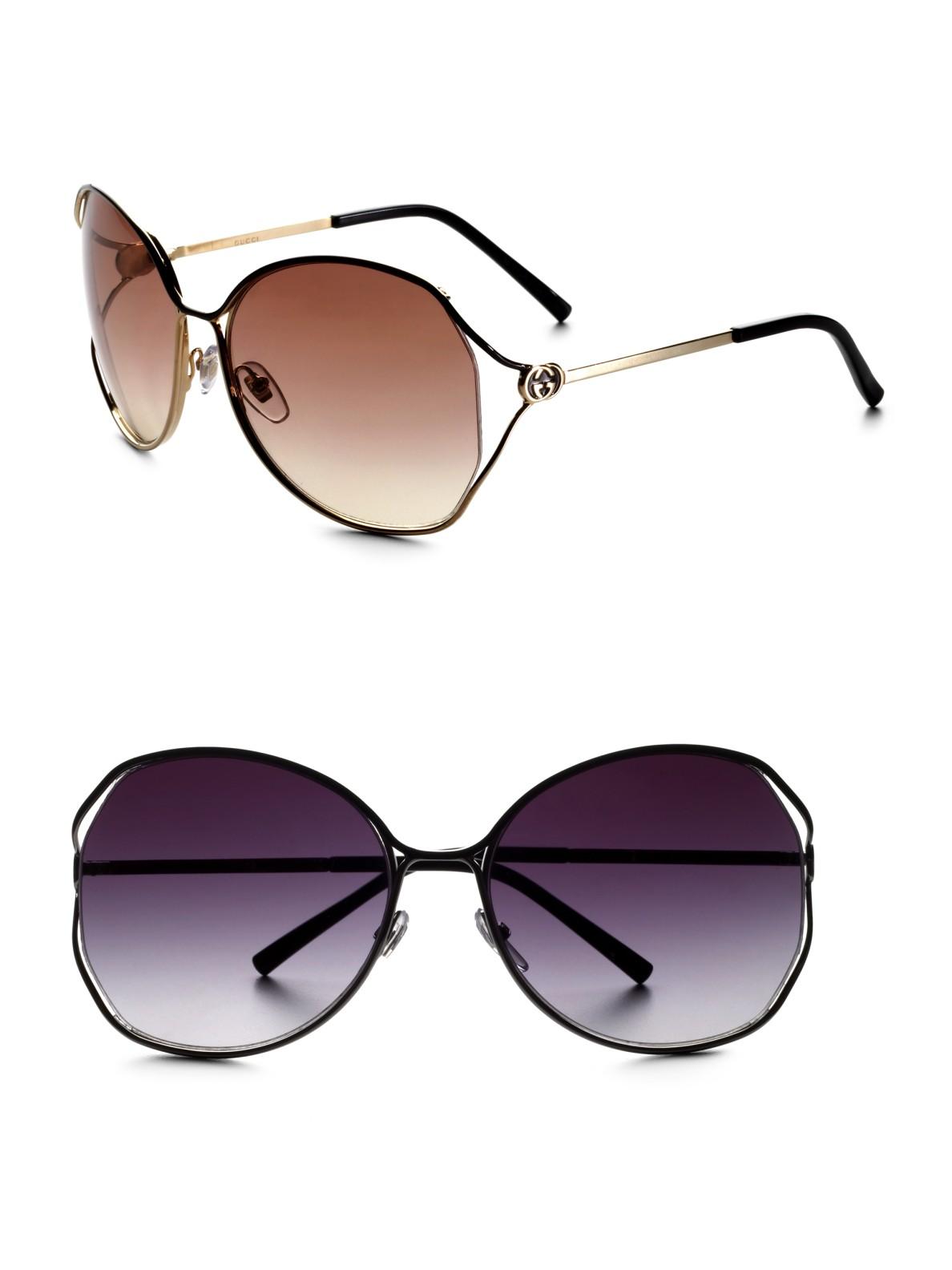 fb0e1a51ee31 Gucci Oversized Metal Sunglasses in Metallic - Lyst
