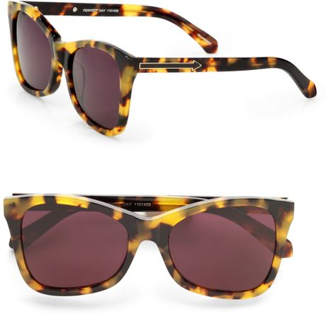Karen Walker Modified Cateye Sunglasses/crazy Tortoise in Animal - Lyst