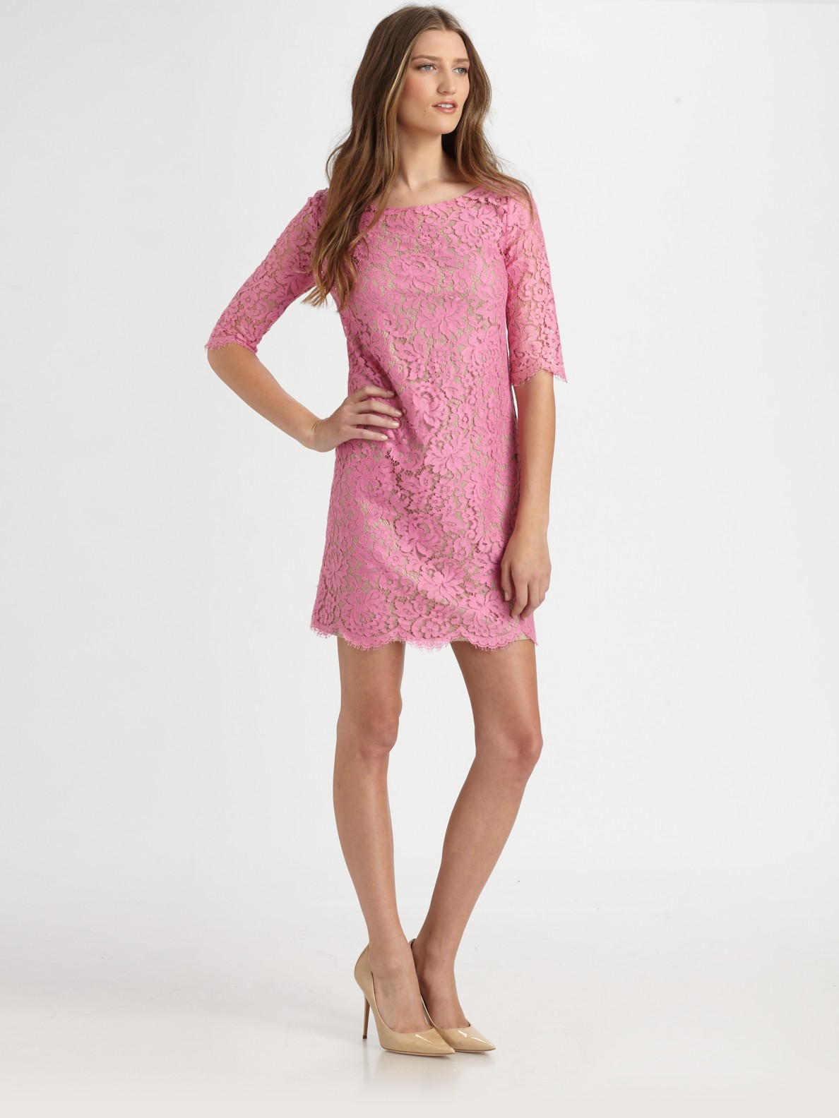 Robert rodriguez Lace Shift Dress in Pink | Lyst