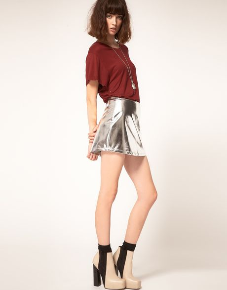 Silver Metallic Skirt 38