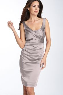 Suzi Chin For Maggy Boutique Ruched Stretch Satin Sheath Dress - Lyst