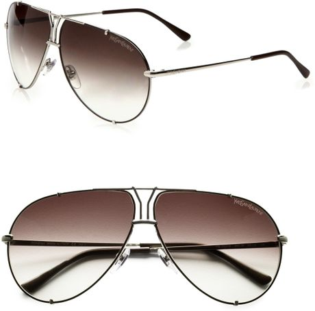 Yves Saint Laurent Logo Accented Metal Aviator Sunglasses in Brown - Lyst