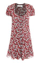 Yves Saint Laurent Poppy-print Silk Dress - Lyst