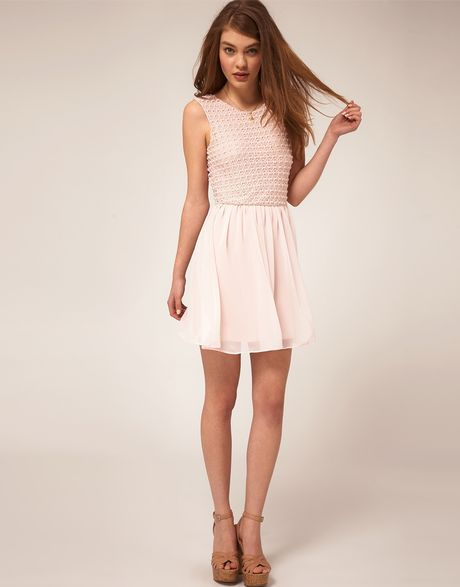 Asos Collection Asos Skater Dress With Crochet Bodice In