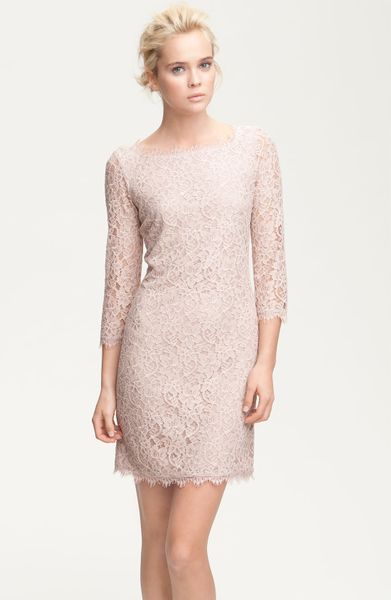 Diane Von Furstenberg Dress Zarita Lace in Beige (nude) - Lyst
