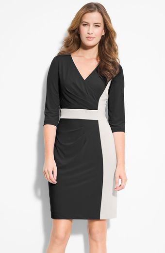 Donna Ricco Colorblock Surplice Jersey Dress - Lyst