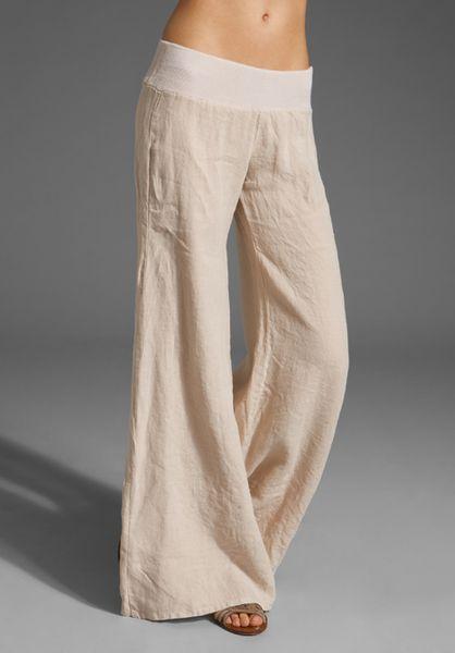 Enza Costa Linen Wide Leg Pant In Beige Flax Lyst