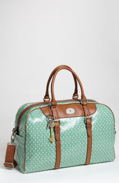 Fossil Vintage Key-per Coated Canvas Duffel Bag in Green (sea green) - Lyst