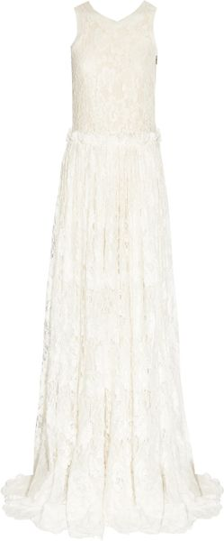 Lanvin Tulle-trimmed Lace Gown in Beige (ivory)