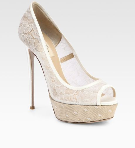 Valentino Lace & Satin Bridal Peep Toe Platform Pumps in Beige (nude) - Lyst