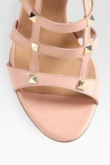 Valentino Studded Leather Cage Sandals in Pink (rose) - Lyst