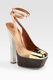 Yves Saint Laurent Tie-up Satin and Suede Platform Pumps - Lyst