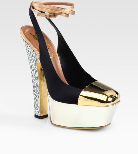 Yves Saint Laurent Tieup Satin Suede & Patent Leather Platform Pumps in Multicolor (multi) - Lyst