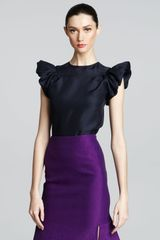 Yves Saint Laurent Ruffle-sleeve Blouse - Lyst