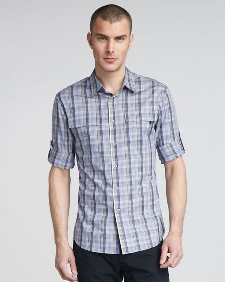 Elie Tahari Zac Twopocket Plaid Shirt in Blue for Men (purple shell) - Lyst