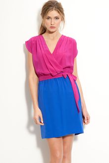 Presley Skye April Silk Crêpe De Chine Colorblock Dress - Lyst