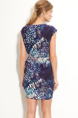 Presley Skye Print Crêpe De Chine Dress in Blue (navy/gray) - Lyst