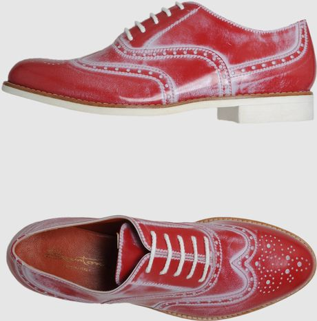 Santoni Laced Shoes in Red - Lyst