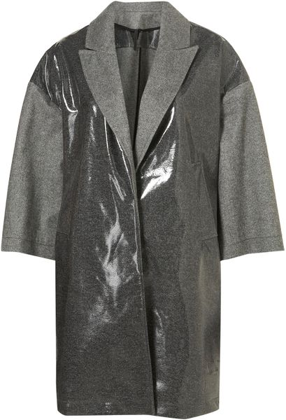Topshop Grey Coated Raincoat  in Gray (grey) - Lyst