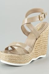 Yves Saint Laurent Patent Ankle-wrap Wavy-wedge Espadrille - Lyst