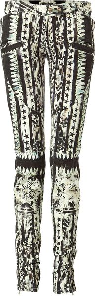 Balmain Black and White Patterned Low-rise Pants - Lyst