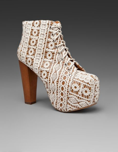 Jeffrey Campbell Lita in Brown (beige lace tan)