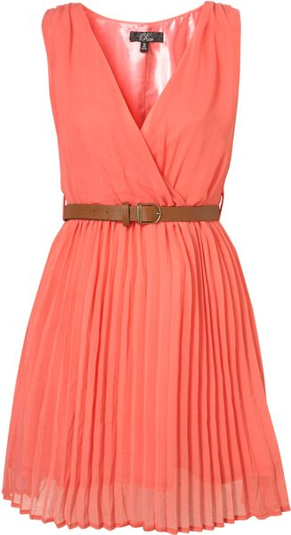 Topshop Crossover Pleated Belt Dress By Rare** - Lyst