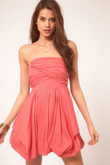 Bandeau Dress on Asos Maternity Bandeau Dress With Bubble Hem In Pink  Coral    Lyst