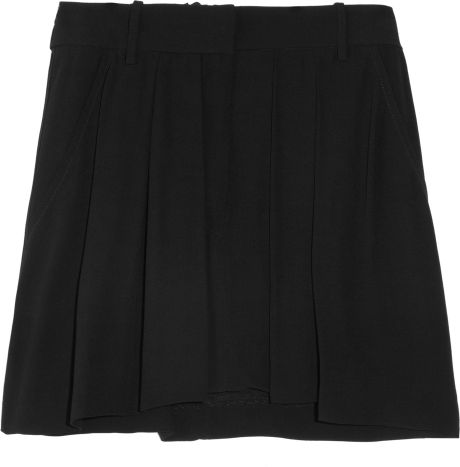 Isabel Marant Olan Pleated Crepe Mini Skirt in Black - Lyst
