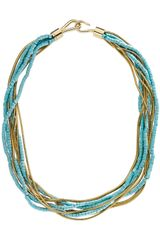 Michael Kors Turquoise Snake-chain Multi-strand Necklace - Lyst