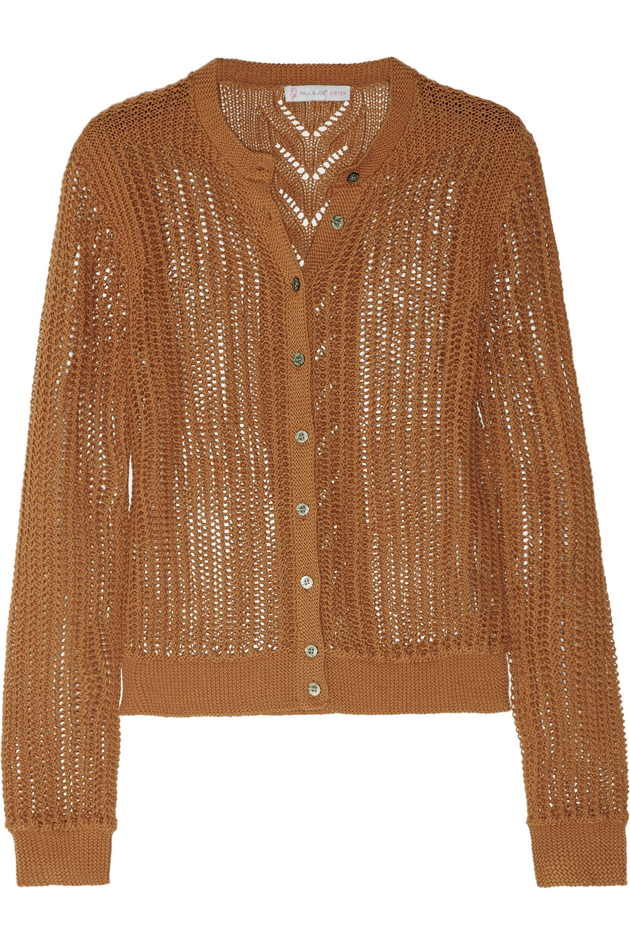 Paul & joe Cyprien Open-knit Cotton Cardigan in Brown | Lyst