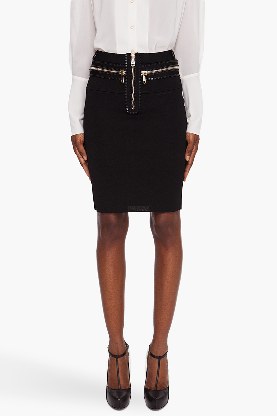 givenchy zip knit pencil skirt in black lyst