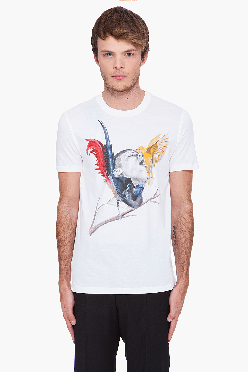 Givenchy Man With Birds Print T Shirt In White For Men Lyst