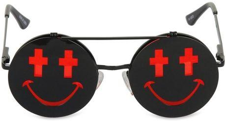 Jeremy Scott Shiny Smile Sunglasses in Black for Men