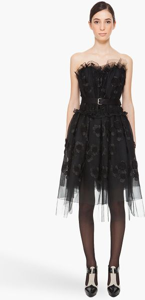 Marc Jacobs Tulle Strapless Dress in Black - Lyst