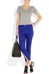 Mcq By Alexander Mcqueen Zipdetailed Stretch Cottontwill Skinny Pants in Blue - Lyst