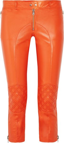 Mcq By Alexander Mcqueen Leather Skinny Biker Pants in Orange - Lyst