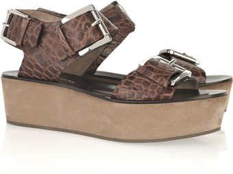 Michael Kors Crocodileeffect Leather Platform Sandals - Lyst